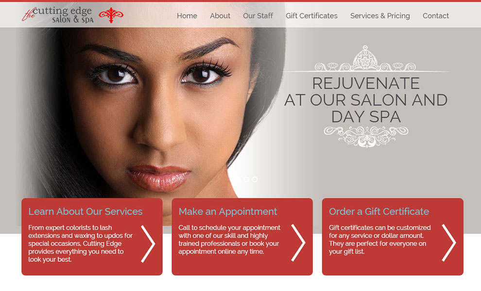 Cutting edge salon and spa rvt web solutions for A cutting edge salon